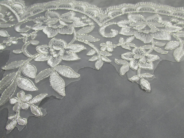 Off White Platinum 8 Inch Floral Bridal Lace Trim-Trims-1 yard-Odyssey Cache