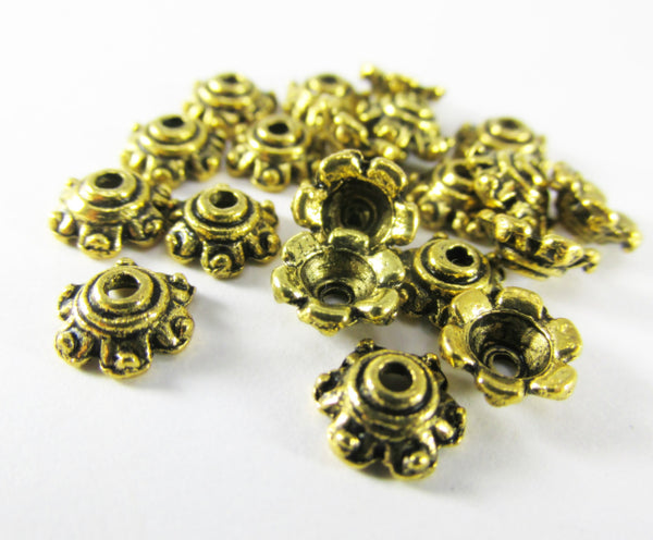 Gold Plated 7mm Pewter Metal Bead Caps (20) - Odyssey Cache