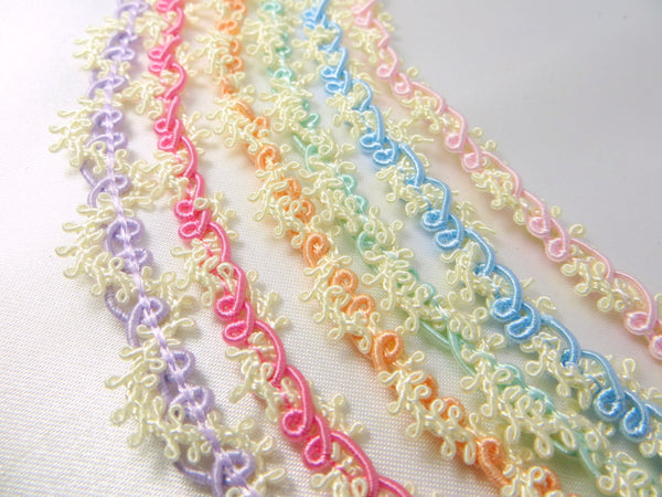 Easter Pastel Buttercream Lacy Picot Narrow Gimp Trim - Odyssey Cache - 1