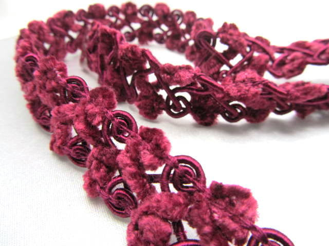Open Weave 3/4 inch Chenille Trim-Trims-Burgundy-Odyssey Cache