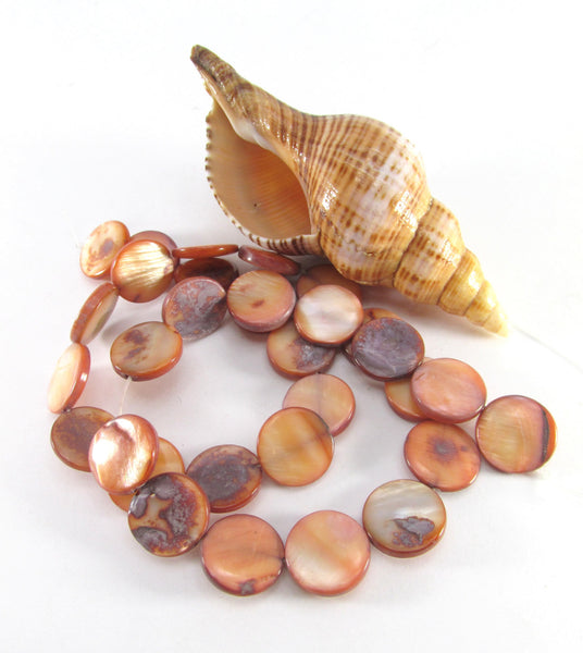 Peach Brown Mother of Pearl 11mm Flat Coin Shell Beads - Sale-Jewelry Beads-Odyssey Cache