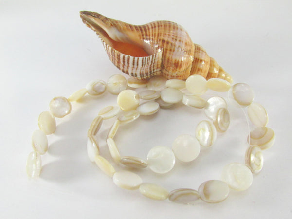 Natural Ivory Mother of Pearl 10mm Flat Coin Shell Beads-Jewelry Beads-Odyssey Cache