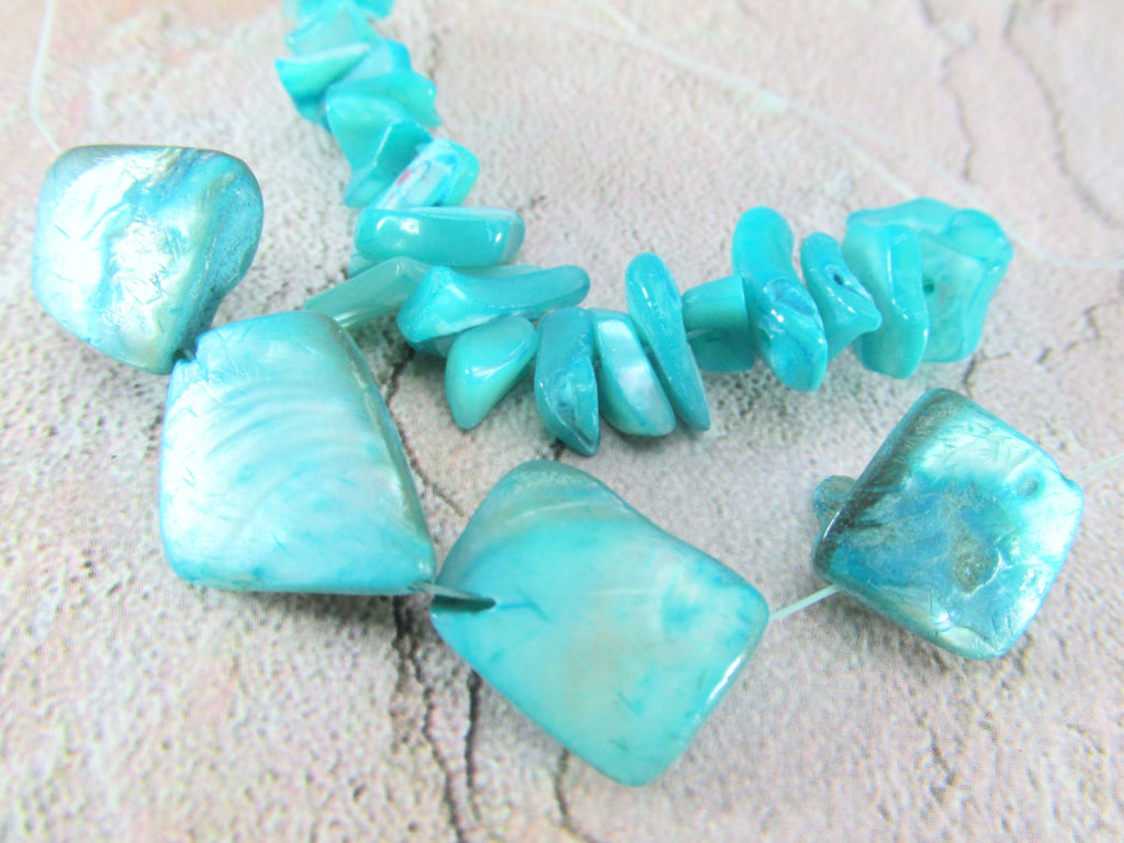 Blue Turquoise Mother of Pearl Mixed Nugget Bead Set - Odyssey Cache