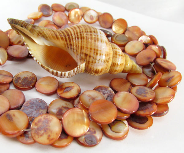 Peach Brown Mother of Pearl 11mm Flat Coin Shell Beads - Sale-Jewelry Beads-Default Title-Odyssey Cache