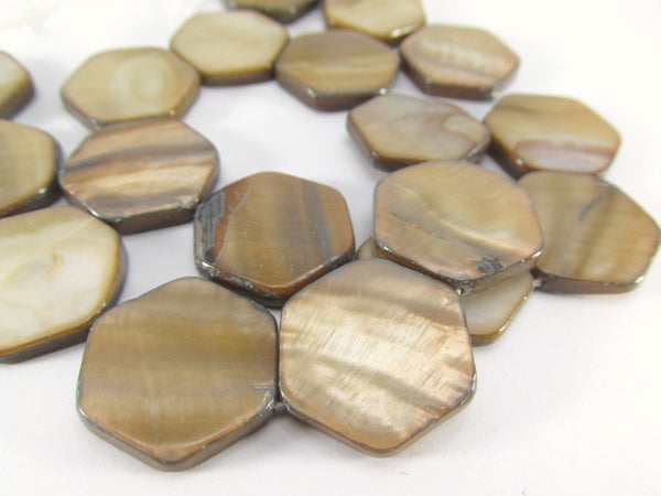 Light Brown Mother of Pearl Flat 20mm Hexagon Shell Coin Beads-Jewelry Beads-Odyssey Cache
