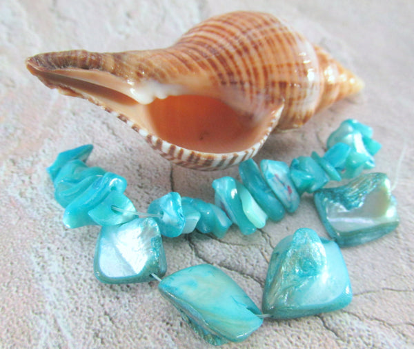 Blue Turquoise Mother of Pearl Mixed Nugget Bead Set-Jewelry Beads-Odyssey Cache