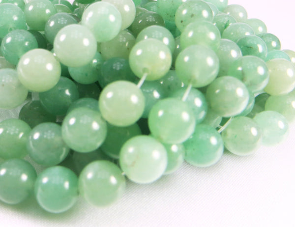 Green Aventurine Smooth 7mm Round Beads (18)-Jewelry Beads-Odyssey Cache