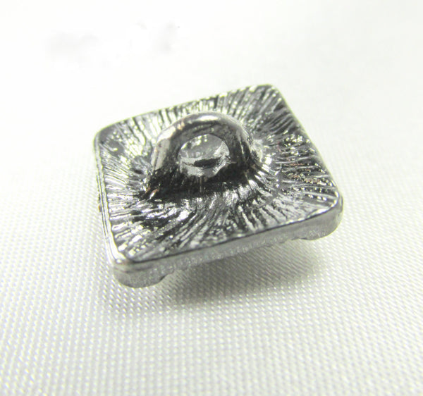Antique Silver 14mm Square Crystal Button with metal shank - Odyssey Cache