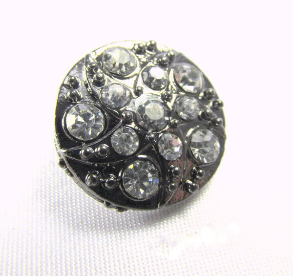 Antique Silver 18mm Round Fancy Rhinestone Button-Buttons-Odyssey Cache