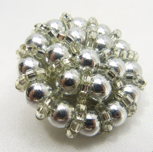 Grey Pearl and Silver Glass Seed Beads 30mm Buttons-Buttons-Odyssey Cache