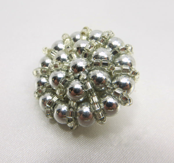 Grey Pearl and Silver Glass Seed Beads 30mm Buttons - Odyssey Cache