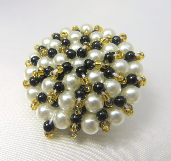 Black White and Gold Pearl Beaded Large 35mm Button - Odyssey Cache