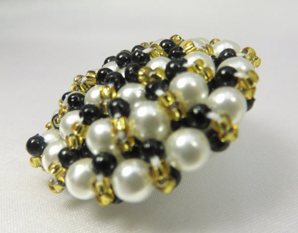 Black White and Gold Pearl Beaded Large 35mm Button-Buttons-Default Title-Odyssey Cache