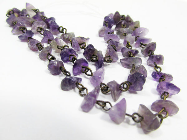 Amethyst Nuggets on Antique Brass 18 Inch Chain - Odyssey Cache