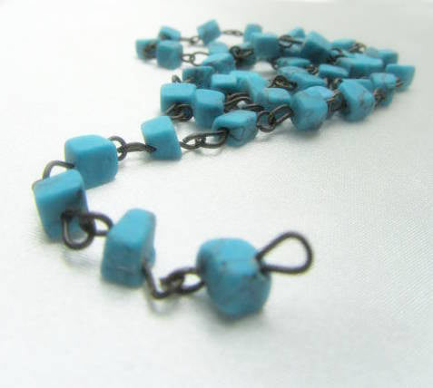Turquoise Nuggets on Antique Brass 18 Inch Chain - Odyssey Cache