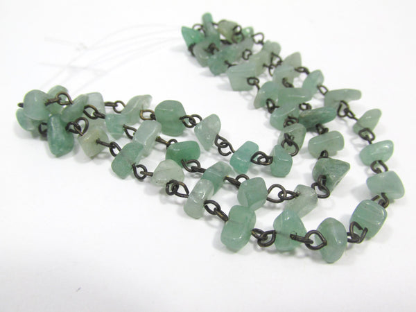 Green Aventurine Nuggets on Antique Brass 18 Inch Chain - Odyssey Cache