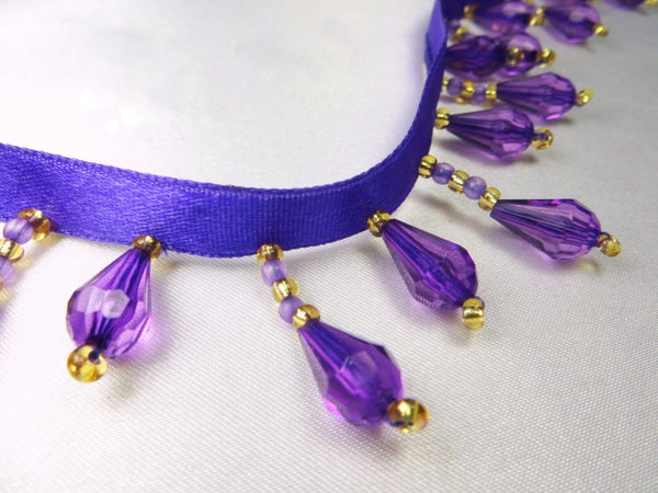 Purple and Gold Short Beaded Fringe Trim-Beaded Fringe-Yard-Odyssey Cache