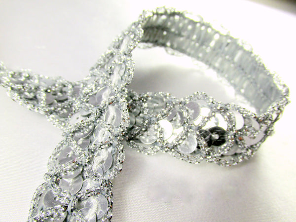 Black or Silver Criss Cross 3/4 inch Wide Scallloped Sequined Trim-Trims-Silver-Odyssey Cache