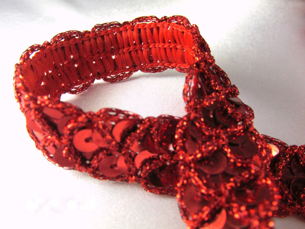 Red, Black, Silver or Gold Criss Cross 3/4 inch Wide Scallloped Sequined Trim-Trims-Red-Odyssey Cache
