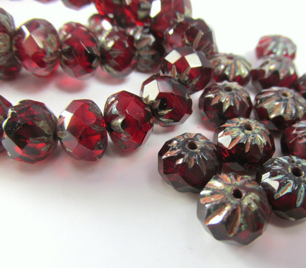 Marsala Dark Red Garnet 9mm x 6mm Faceted Cruller Beads - Odyssey Cache