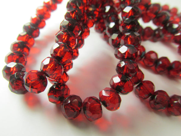 Marsala Dark Red Czech Glass 7mm x 5mm Faceted Rondelles (15)-Jewelry Beads-Odyssey Cache