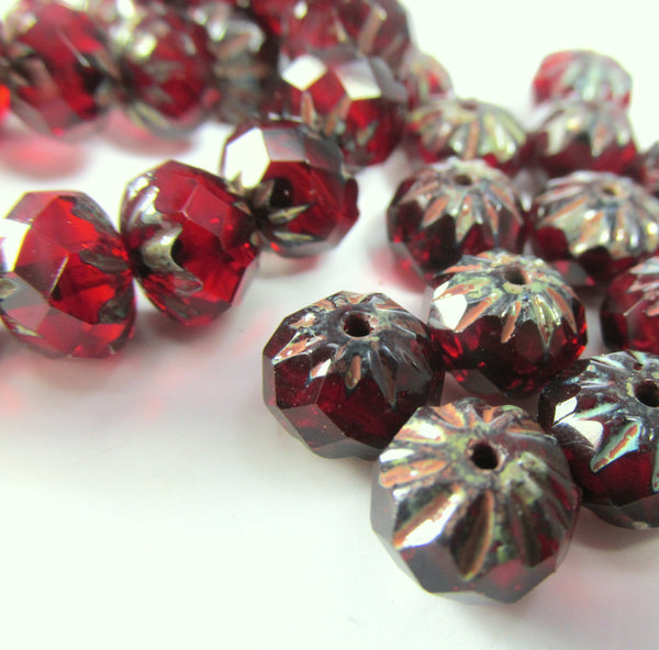 Marsala Dark Red Garnet 9mm x 6mm Faceted Cruller Beads-Czech Glass-Odyssey Cache