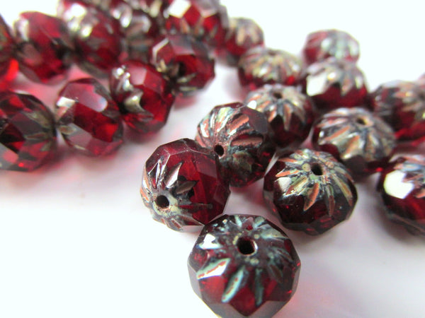 Marsala Pink Burgundy Czech 9mm x 6mm Carved Crullers-Czech Glass-10 beads-Odyssey Cache