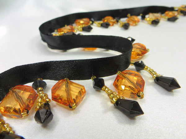 Halloween Black and Orange Short Stairstep Square Beaded Fringe Trim-Beaded Fringe-Odyssey Cache