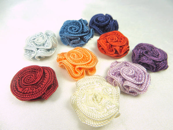 Small 3/4 Inch Woven Ribbon Rose Craft Flowers or Appliques in 9 colors-Appliques-Burgundy-Odyssey Cache