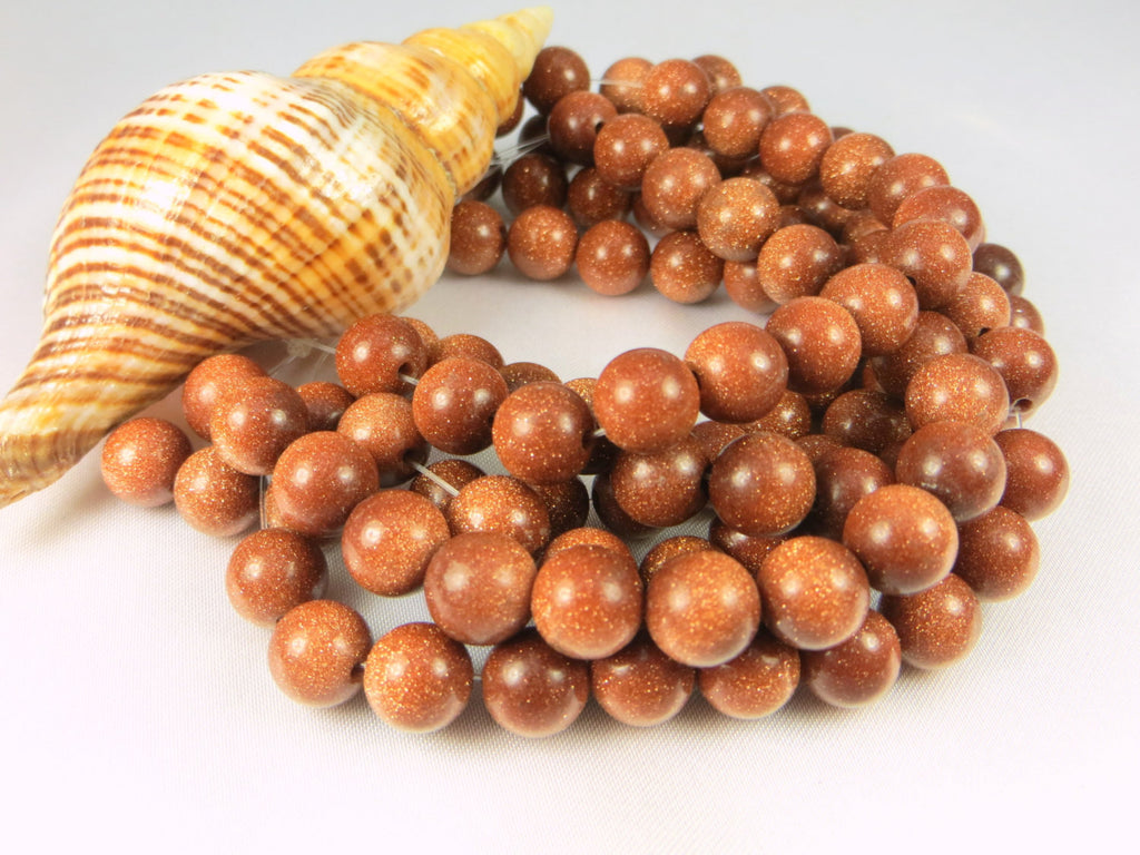 Goldstone Semiprecious Gemstone 7mm Round Beads-Jewelry Beads-Odyssey Cache
