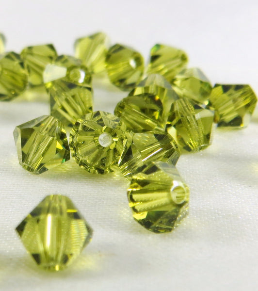 Khaki Green Satin Swarovski 5301 5mm Bicones (25)-Jewelry Beads-Odyssey Cache