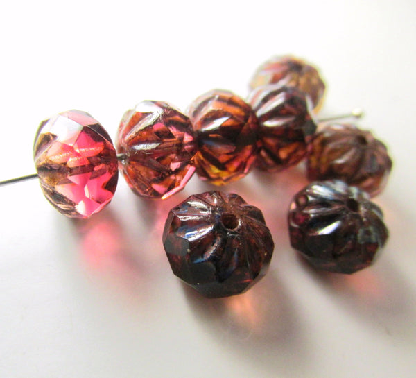Marsala Pink Burgundy Czech 9mm x 6mm Carved Crullers-Czech Glass-Odyssey Cache