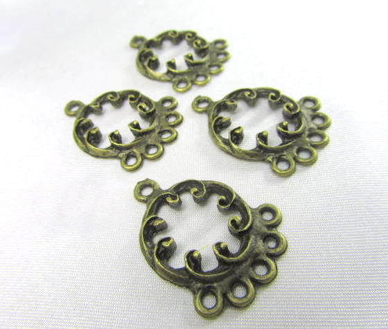 Antique Brass Filigree 5 drop Chandelier Metal Findings (4)-Jewelry Beads-Odyssey Cache