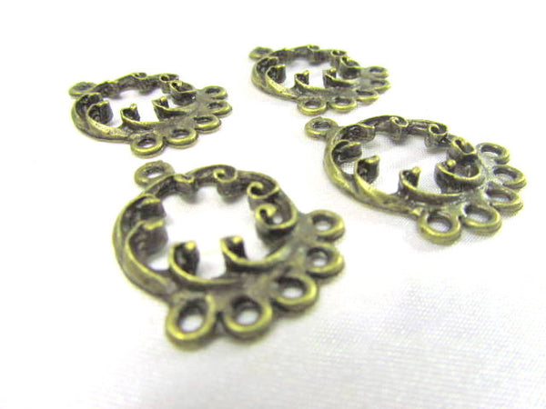 Antique Brass Filigree 5 drop Chandelier Metal Findings (4)-Jewelry Beads-Default Title-Odyssey Cache