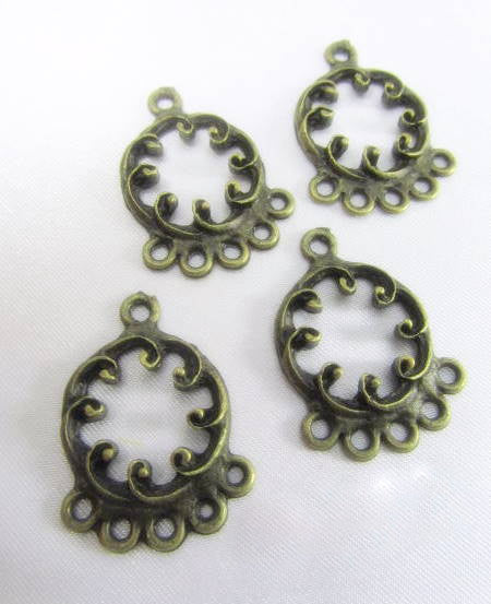 Antique Brass Filigree 5 drop Chandelier Metal Findings (4) - Odyssey Cache