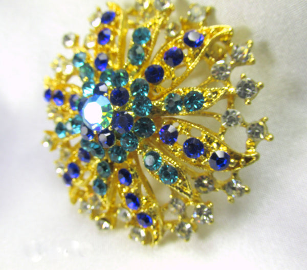 Turquoise and Blue Vintage Style Flower Gold Brooch-Brooch-Odyssey Cache