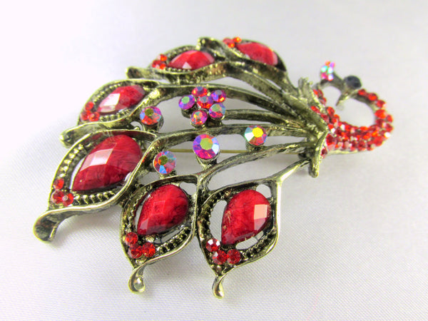 Marsala Red Peacock Brooch in Antique Gold-Brooch-Odyssey Cache