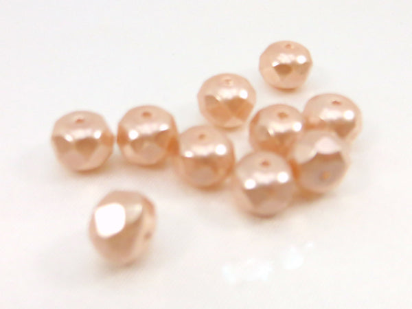 Czech Glass Pale Pink Pearl 8mm x 6mm Faceted Pearl Rondelles (10 beads)-Jewelry Beads-Default Title-Odyssey Cache
