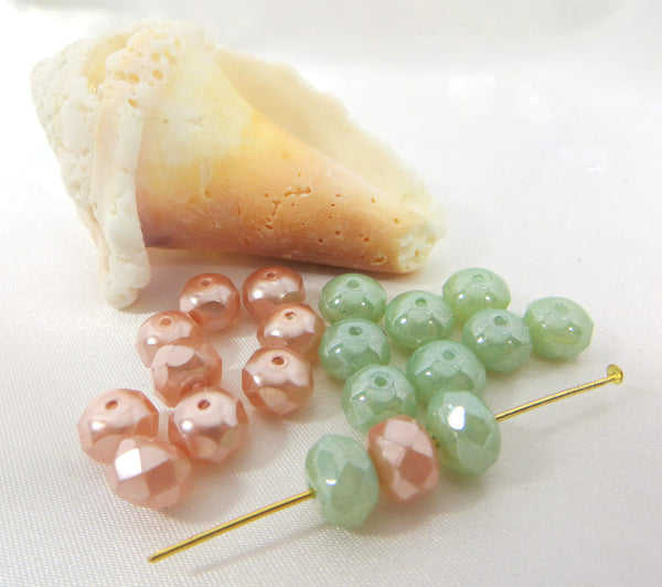 Czech Glass Pale Pink Pearl 8mm x 6mm Faceted Pearl Rondelles (10 beads)-Jewelry Beads-Odyssey Cache