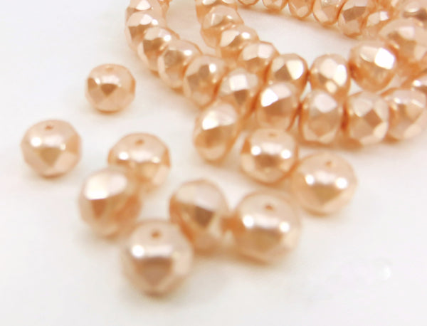 Czech Glass Pale Pink Pearl 8mm x 6mm Faceted Pearl Rondelles (10 beads) - Odyssey Cache