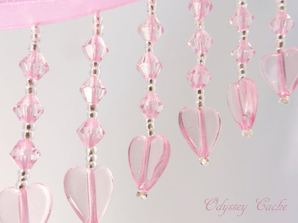 Pale Pink and Silver Heart Straight Medium Beaded Fringe-Beaded Fringe-Odyssey Cache