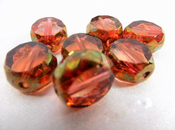 Peach Luster Czech 12mm Faceted Sliced Round Beads (5)-Jewelry Beads-Odyssey Cache