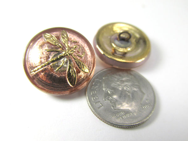 Dragonfly 18mm Button in Light Copper Rose Gold Czech Glass - Odyssey Cache