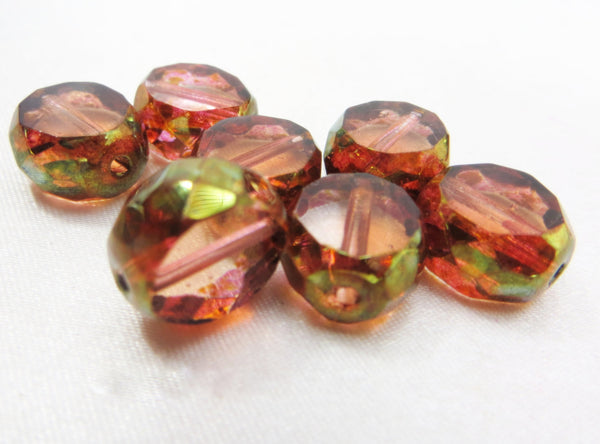 Peach Luster Czech 12mm Faceted Sliced Round Beads (5) - Odyssey Cache