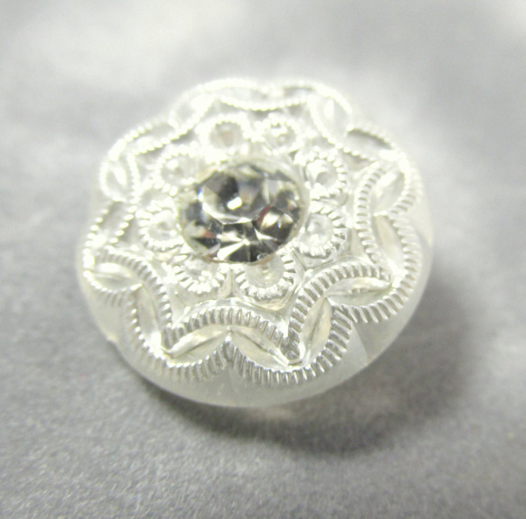Filigree White Czech Glass 18mm Button with Clear Crystal Centers-Jewelry Beads-Odyssey Cache