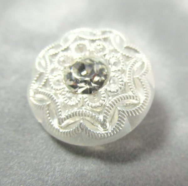 Filigree White Czech Glass 18mm Button with Clear Crystal Centers - Odyssey Cache