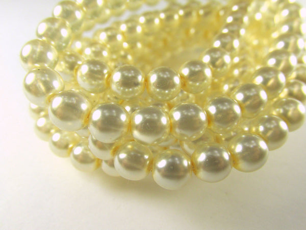 Ivory Pearl Czech Glass 6mm Round Druks (25)-Czech Glass-Odyssey Cache
