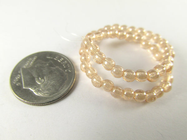 Light Peach Luster Czech Glass 3mm Round Druks (50)-Czech Glass-Odyssey Cache