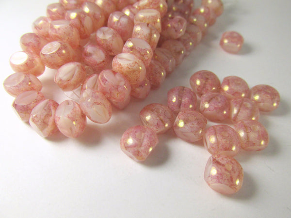 Pink Rose Czech Glass Quadries 8mm x 7mm Semi Round Rondelles (10 beads)-Jewelry Beads-Odyssey Cache