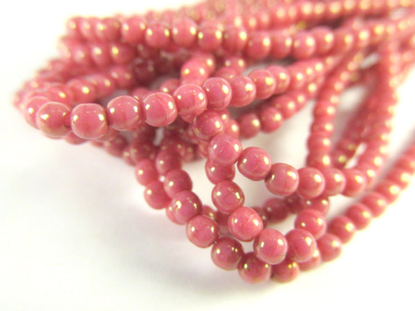 Coral Pink Peach 3mm Czech Round Druks with light 22k Gold Picasso (50)-Jewelry Beads-Odyssey Cache